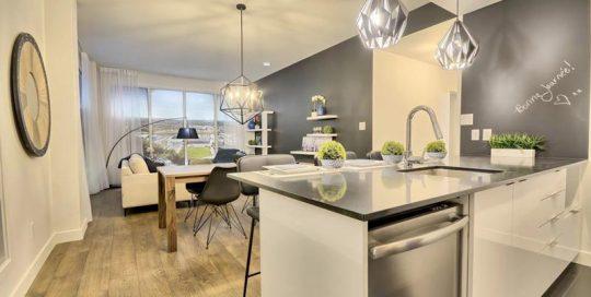 L'équipe de designers et de stylistes de Signé Labelle ont aménagé cette espace à aire ouverte afin de bien séparer la cuisine, la salle à manger et le séjour.